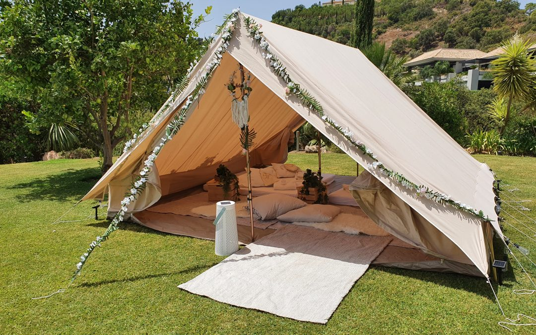 Bell Tent Hire with Beautiful Boho Theme in Sotogrande